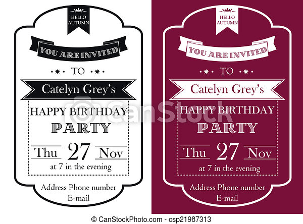 Vector set of vintage birthday party invitation vector clip art