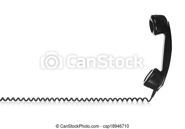 vintage black handset with wire - csp18946710