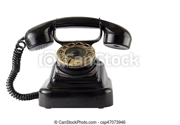Vintage black phone on white background - csp47073946