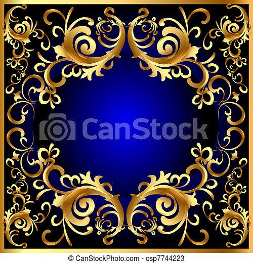 vintage blue frame with vegetable gold(en) pattern - csp7744223