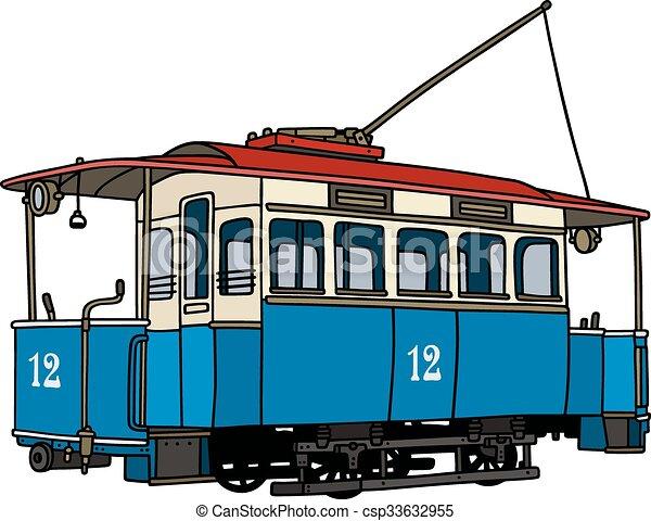 Vintage blue tramway - csp33632955