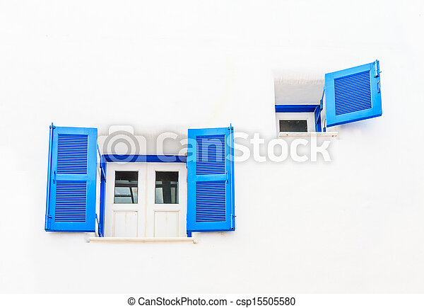 Vintage blue window - csp15505580