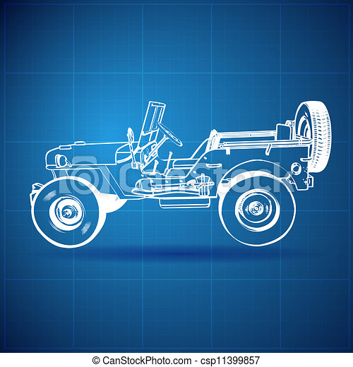 Vintage blueprint of american jeep vector illustration clipart vintage blueprint of american jeep csp11399857 malvernweather Image collections