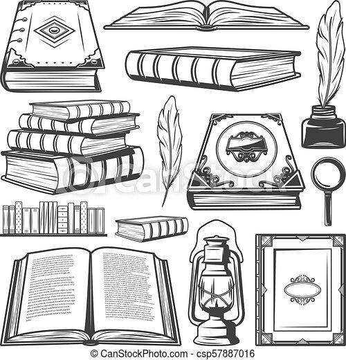 Vintage Book Elements Collection - csp57887016