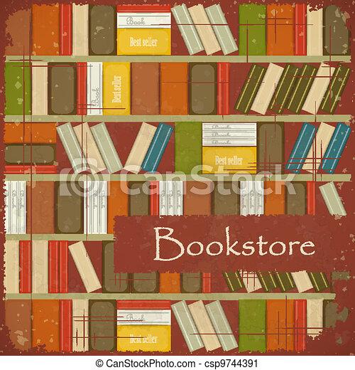 Vintage Bookstore Background - csp9744391