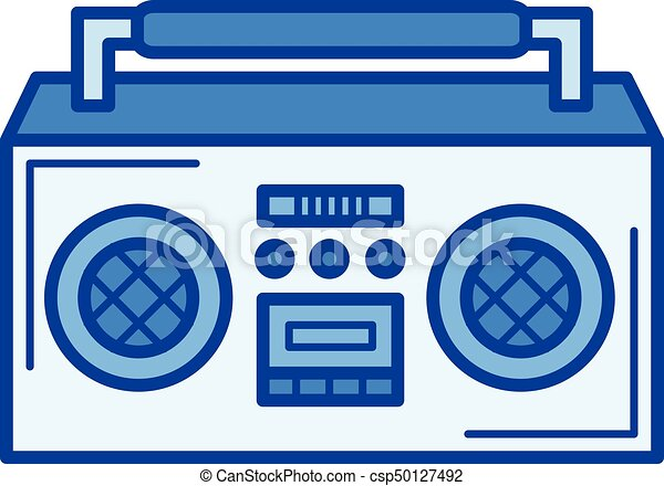 vintage boombox line icon vintage boombox vector line icon isolated rh canstockphoto com boombox vector image boombox speaker vector