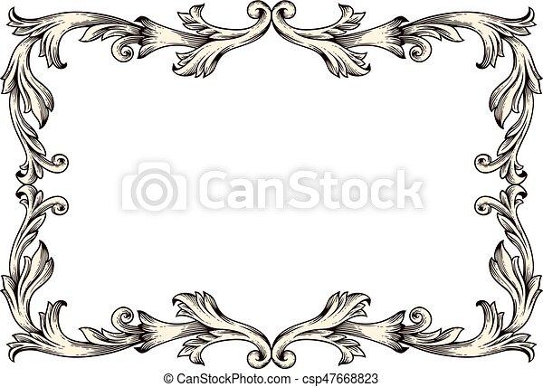 vintage border frame vector illustration baroque design