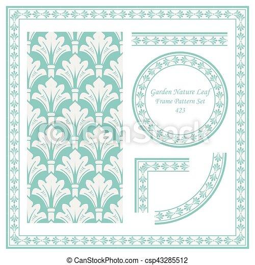 Vintage Border Pattern of Garden Nature Leaf - csp43285512