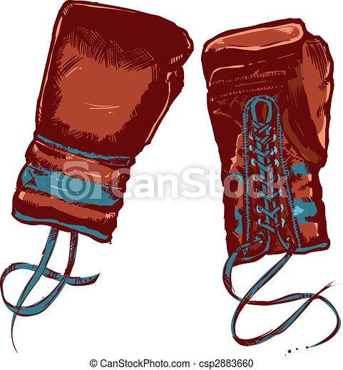 Vintage boxing gloves vector illustration - csp2883660