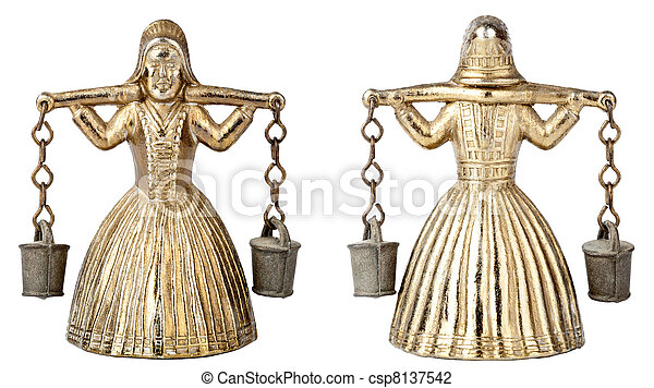 Vintage brass bell shape of a woman with a yoke - csp8137542