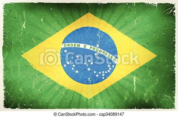 Vintage Brazil Flag Poster Background - csp34089147