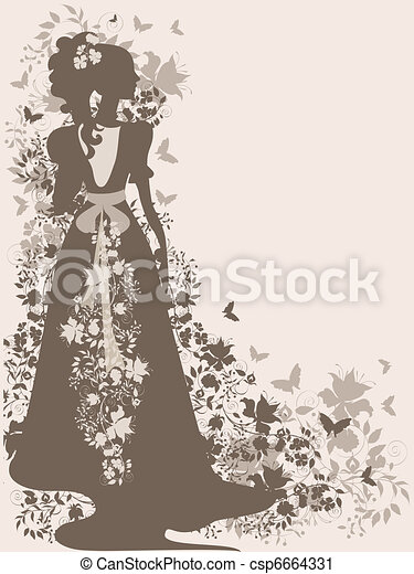 Vintage Bride Background With Flowers And Silhouette