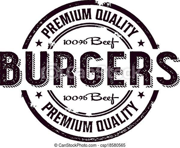 Vintage Burger Menu Stamp - csp18580565