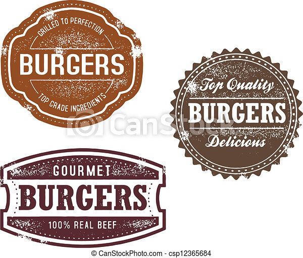Vintage Burger Stamps - csp12365684