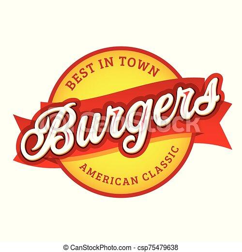 Vintage Burgers sign lettering stamp - csp75479638