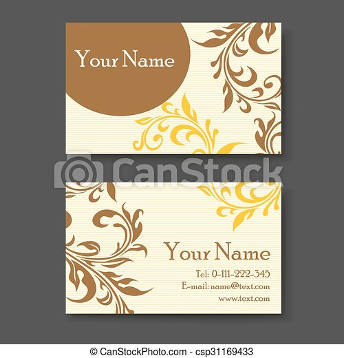 Vintage Business Card Template With Floral Elements