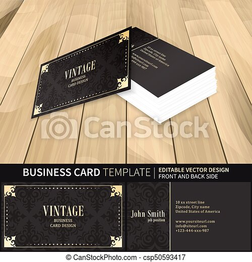 Vintage business card vector template with front and back side vintage business card vector template with front and back side wooden background with perspective view colourmoves