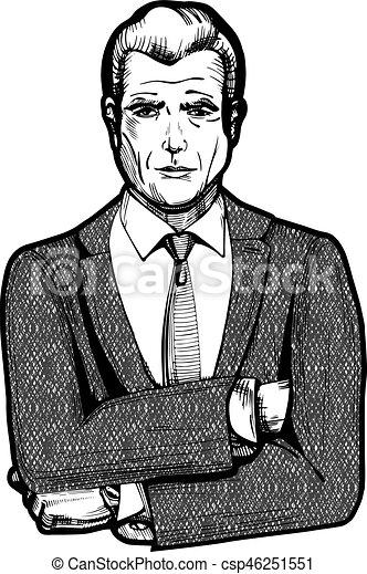 Vintage businessman portrait - csp46251551