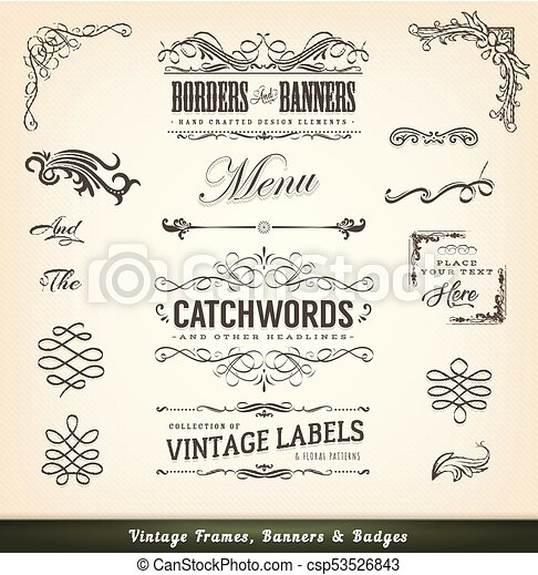 Vintage Calligraphic Frames And Banners
