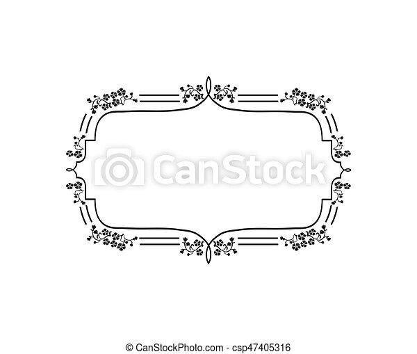 Vintage Calligraphic Square Frame Decorative Floral Border Element Flourish