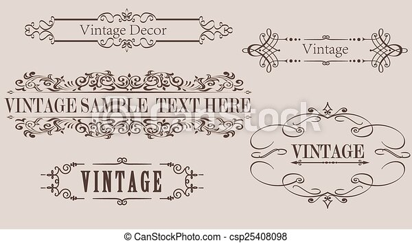 Vintage calligraphy frame vector graphics. Collection of different ...
