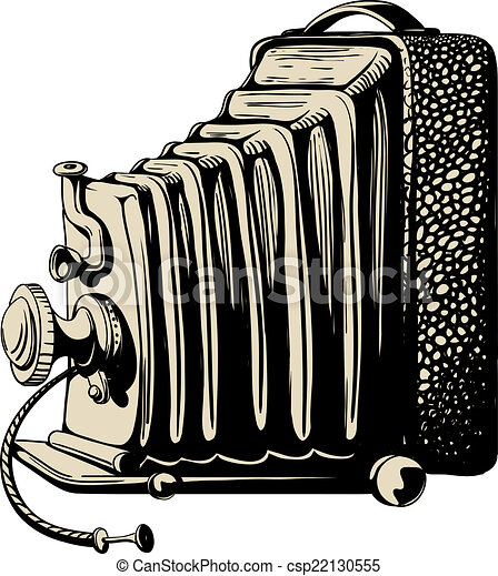 Vintage Camera With Bellows Black And Sepia Isolated On Clipart