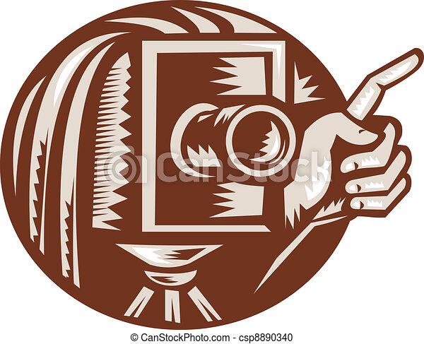 Vintage Camera Hand Pointing Retro Woodcut - csp8890340