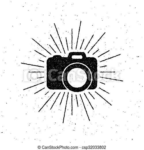vintage camera label with light rays. - csp32033802