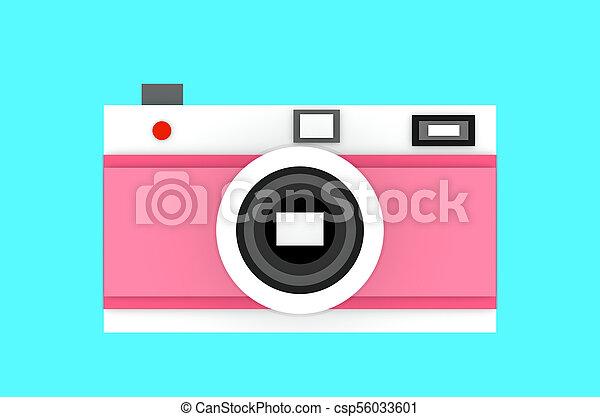 Vintage camera on blue background paper cut 3D illustration - csp56033601