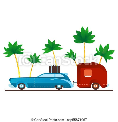 Vintage Camping Car With Trailer On Palm Trees Background