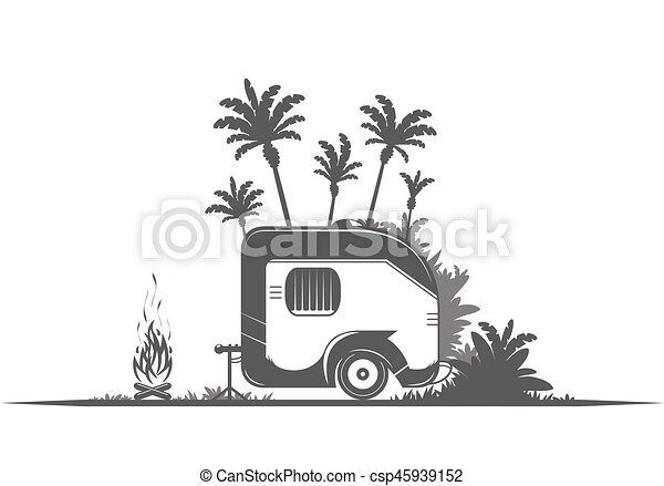 Vintage Camping Trailer Travel On The White Background