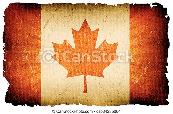 Vintage Canada Flag Poster Background - csp34235064