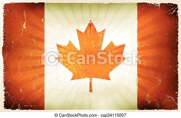 Vintage Canada Flag Poster Background - csp34115007