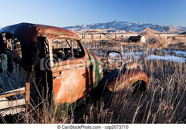 vintage car abandoned - csp2073710