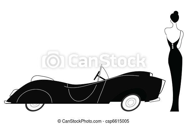 Vintage car and stylish lady - csp6615005