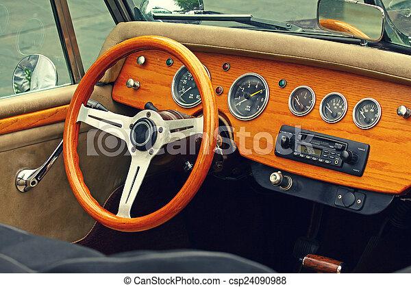 Vintage Car Interior Wooden Interior Of Antique Luxury Car Retro