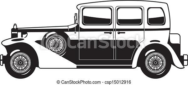 Black And White Illustration Of Vintage Car