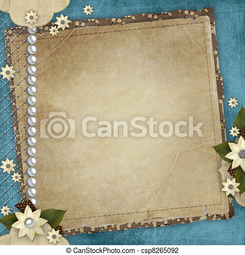Vintage card for the holiday with frames, flowers on the abstract background - csp8265092
