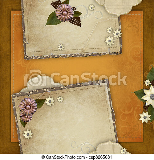 Vintage card for the holiday with frames, flowers on the abstract background - csp8265081