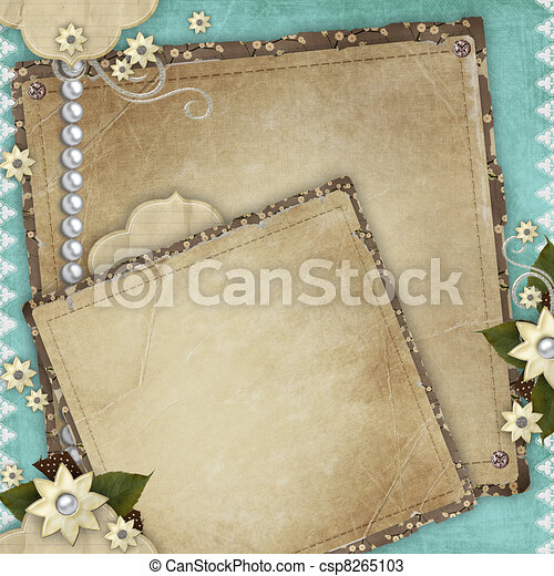 Vintage card for the holiday with frames, flowers on the abstract background - csp8265103