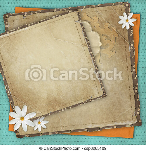 Vintage card for the holiday with frames, flowers on the abstract background - csp8265109