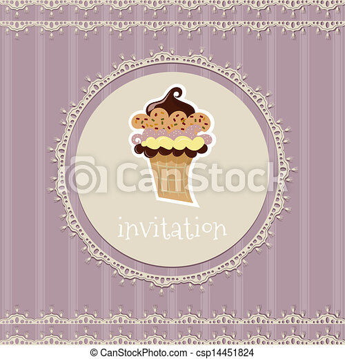Vintage card--invitation--with cupcake on a purple background - csp14451824