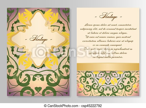 Vintage card template with floral ornaments - csp45222792