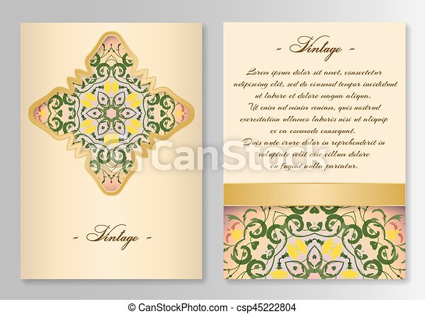 Vintage card template with floral ornaments - csp45222804