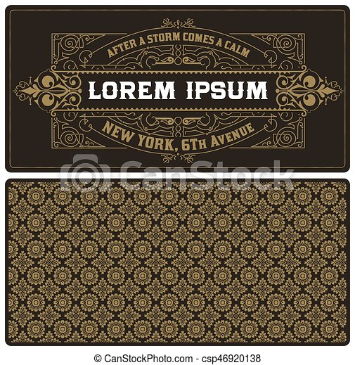 vintage card template with pattern. - csp46920138
