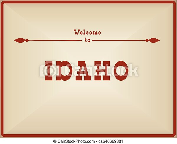 Vintage card Welcome to Idaho - csp48669381
