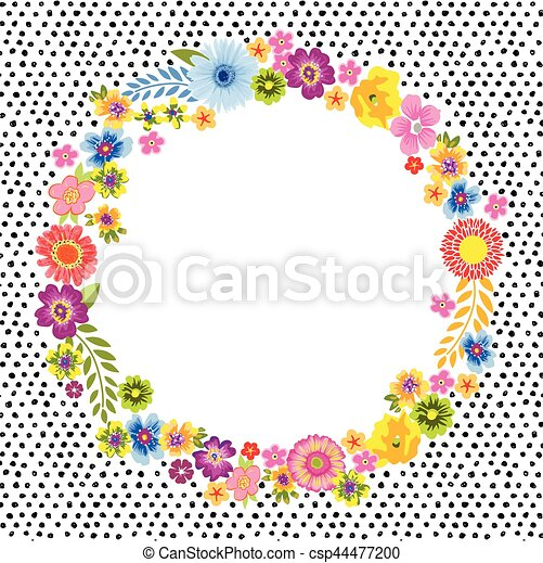 Vintage Card With A Round Flower Frame