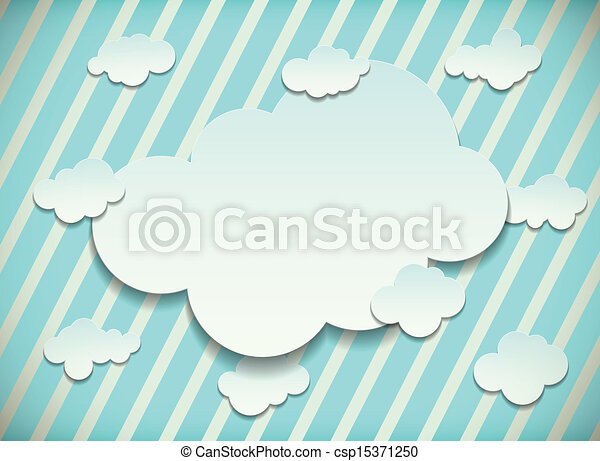 Vintage card with cut out clouds - csp15371250