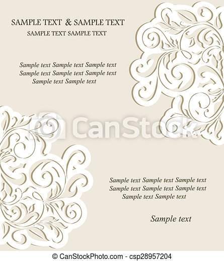 Vintage card with floral elements - csp28957204