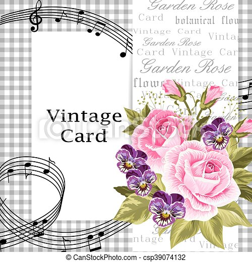 Vintage Card With Flowers Vector Illustration Of A Beautiful